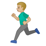 Man Running: Medium-Light Skin Tone on Google Android 10.0 March 2020 Feature Drop