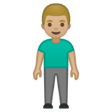 Man Standing: Medium-Light Skin Tone on Google Android 10.0 March 2020 Feature Drop