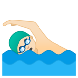 Man Swimming: Light Skin Tone on Google Android 10.0 March 2020 Feature Drop