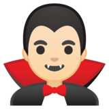 Man Vampire: Light Skin Tone on Google Android 10.0 March 2020 Feature Drop