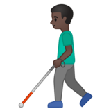 Man with White Cane: Dark Skin Tone on Google Android 10.0 March 2020 Feature Drop