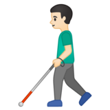 Man with White Cane: Light Skin Tone on Google Android 10.0 March 2020 Feature Drop