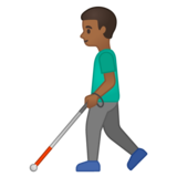 Man with White Cane: Medium-Dark Skin Tone on Google Android 10.0 March 2020 Feature Drop