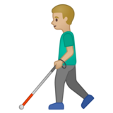 Man with White Cane: Medium-Light Skin Tone on Google Android 10.0 March 2020 Feature Drop