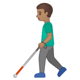 Man with White Cane: Medium Skin Tone on Google Android 10.0 March 2020 Feature Drop