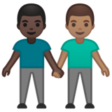 Men Holding Hands: Dark Skin Tone, Medium Skin Tone on Google Android 10.0 March 2020 Feature Drop