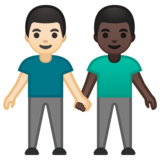 Men Holding Hands: Light Skin Tone, Dark Skin Tone on Google Android 10.0 March 2020 Feature Drop