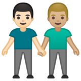 Men Holding Hands: Light Skin Tone, Medium-Light Skin Tone on Google Android 10.0 March 2020 Feature Drop