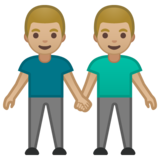 Men Holding Hands: Medium-Light Skin Tone on Google Android 10.0 March 2020 Feature Drop