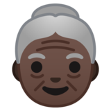 Old Woman: Dark Skin Tone on Google Android 10.0 March 2020 Feature Drop
