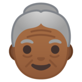 Old Woman: Medium-Dark Skin Tone on Google Android 10.0 March 2020 Feature Drop