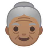 Old Woman: Medium Skin Tone on Google Android 10.0 March 2020 Feature Drop