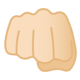 Oncoming Fist: Light Skin Tone on Google Android 10.0 March 2020 Feature Drop