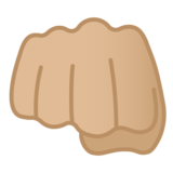 Oncoming Fist: Medium-Light Skin Tone on Google Android 10.0 March 2020 Feature Drop