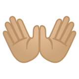 Open Hands: Medium-Light Skin Tone on Google Android 10.0 March 2020 Feature Drop