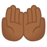 Palms Up Together: Medium-Dark Skin Tone on Google Android 10.0 March 2020 Feature Drop