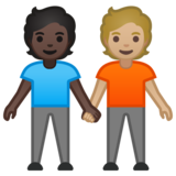 People Holding Hands: Dark Skin Tone, Medium-Light Skin Tone on Google Android 10.0 March 2020 Feature Drop