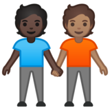 People Holding Hands: Dark Skin Tone, Medium Skin Tone on Google Android 10.0 March 2020 Feature Drop