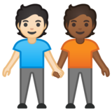 People Holding Hands: Light Skin Tone, Medium-Dark Skin Tone on Google Android 10.0 March 2020 Feature Drop