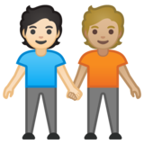 People Holding Hands: Light Skin Tone, Medium-Light Skin Tone on Google Android 10.0 March 2020 Feature Drop