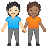 People Holding Hands: Light Skin Tone, Medium Skin Tone on Google Android 10.0 March 2020 Feature Drop