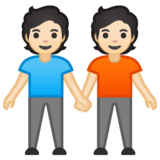 People Holding Hands: Light Skin Tone on Google Android 10.0 March 2020 Feature Drop