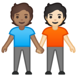 People Holding Hands: Medium Skin Tone, Light Skin Tone on Google Android 10.0 March 2020 Feature Drop