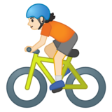 Person Biking: Light Skin Tone on Google Android 10.0 March 2020 Feature Drop