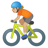 Person Biking: Medium-Light Skin Tone on Google Android 10.0 March 2020 Feature Drop
