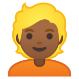 Person: Medium-Dark Skin Tone, Blond Hair on Google Android 10.0 March 2020 Feature Drop