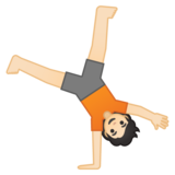 Person Cartwheeling: Light Skin Tone on Google Android 10.0 March 2020 Feature Drop