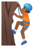 Person Climbing: Medium-Dark Skin Tone on Google Android 10.0 March 2020 Feature Drop