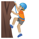 Person Climbing: Medium-Light Skin Tone on Google Android 10.0 March 2020 Feature Drop