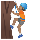 Person Climbing: Medium Skin Tone on Google Android 10.0 March 2020 Feature Drop
