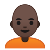 Person: Dark Skin Tone, Bald on Google Android 10.0 March 2020 Feature Drop