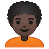 Person: Dark Skin Tone, Curly Hair on Google Android 10.0 March 2020 Feature Drop