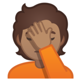 Person Facepalming: Medium Skin Tone on Google Android 10.0 March 2020 Feature Drop