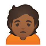 Person Frowning: Medium-Dark Skin Tone on Google Android 10.0 March 2020 Feature Drop