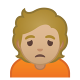 Person Frowning: Medium-Light Skin Tone on Google Android 10.0 March 2020 Feature Drop