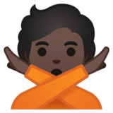 Person Gesturing No: Dark Skin Tone on Google Android 10.0 March 2020 Feature Drop