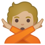Person Gesturing No: Medium-Light Skin Tone on Google Android 10.0 March 2020 Feature Drop