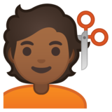 Person Getting Haircut: Medium-Dark Skin Tone on Google Android 10.0 March 2020 Feature Drop