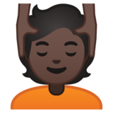 Person Getting Massage: Dark Skin Tone on Google Android 10.0 March 2020 Feature Drop