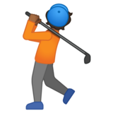 Person Golfing: Medium-Dark Skin Tone on Google Android 10.0 March 2020 Feature Drop