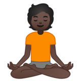 Person in Lotus Position: Dark Skin Tone on Google Android 10.0 March 2020 Feature Drop