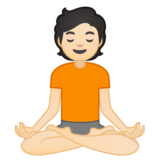 Person in Lotus Position: Light Skin Tone on Google Android 10.0 March 2020 Feature Drop