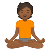 Person in Lotus Position: Medium-Dark Skin Tone on Google Android 10.0 March 2020 Feature Drop
