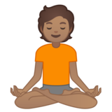 Person in Lotus Position: Medium Skin Tone on Google Android 10.0 March 2020 Feature Drop