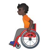 Person in Manual Wheelchair: Dark Skin Tone on Google Android 10.0 March 2020 Feature Drop