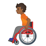 Person in Manual Wheelchair: Medium-Dark Skin Tone on Google Android 10.0 March 2020 Feature Drop